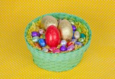 Colorful Easter chocolate eggs in a green basket Stock Photography