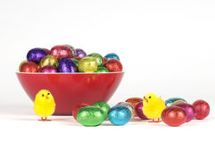 Colorful easter chocolates and chickens Stock Image