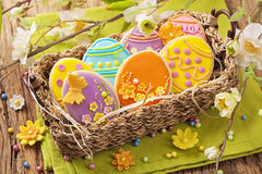 Colorful easter cookies royalty free stock image