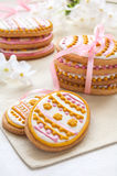 Colorful Easter cookies in the shape of egg Royalty Free Stock Images