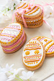 Colorful Easter cookies in the shape of egg Stock Image