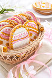 Colorful Easter cookies in the shape of egg Royalty Free Stock Photos