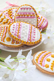 Colorful Easter cookies in the shape of egg Royalty Free Stock Image