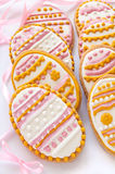 Colorful Easter cookies in the shape of egg Stock Photos