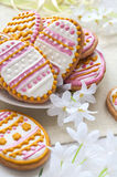 Colorful Easter cookies in the shape of egg Royalty Free Stock Photo