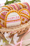 Colorful Easter cookies in the shape of egg Stock Images