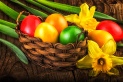 Colorful Easter decoration on dark wooden background Stock Photos