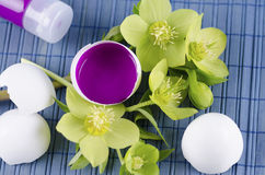 Colorful Easter decoration with egg shell filled with magenta tempera paint and hellebore royalty free stock images