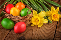 Colorful easter decoration with eggs in basket on dark wooden table Royalty Free Stock Photos