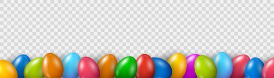 Free Colorful Easter Egg Bottom Border Over Transparent Banner Background. Easter Colored Eggs Set. Top Down View With Copy Space Royalty Free Stock Images - 213914549