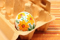 Colorful Easter egg in carton package Royalty Free Stock Photography