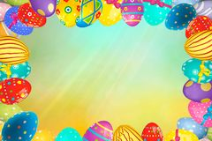 Colorful Easter egg frame edge border against a spring background. Space for text stock images