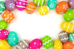 Colorful Easter egg frame  on white Royalty Free Stock Image