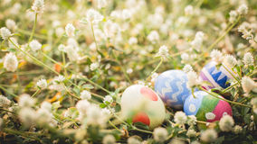 colorful Easter egg in the fresh spring meadow Stock Photos