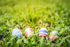 colorful Easter egg in the fresh spring meadow Stock Images