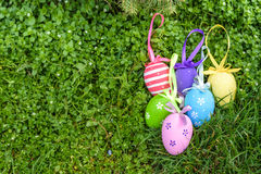 Colorful Easter egg in the fresh spring meadow Stock Photo