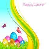 Colorful Easter Egg in garden Stock Photos