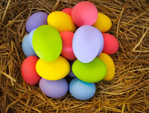 Colorful easter egg. In a hay nest stock photos