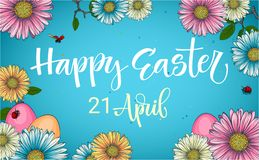 Colorful Easter egg hunt calligraphy phrase with floral and eggs decor vector illustration