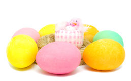 Colorful Easter egg and little chick Royalty Free Stock Image