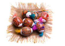 Colorful Easter egg on the napkin, isolated Stock Photo