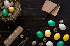 Colorful easter egg in nest on dark wood board. Royalty Free Stock Photos