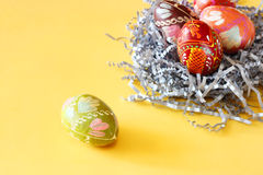 Colorful easter egg in the nest Stock Photo