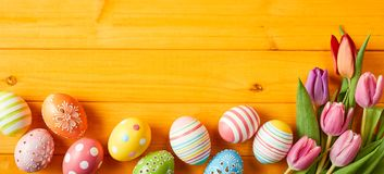 Colorful Easter egg panorama banner stock image