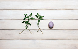 A colorful Easter egg of purple with a white dot, painted in handmade and two branches of spring plants lie in a row on an old whi Royalty Free Stock Image
