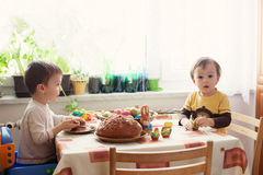 Colorful Easter egg and two boys Royalty Free Stock Photos