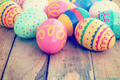 Colorful easter egg on wood background Stock Images