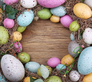 Colorful easter egg on wooden background Royalty Free Stock Photography