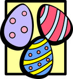 Colorful easter eggs. Illustration of three decorated easter eggs Royalty Free Stock Photography