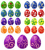 Colorful Easter Eggs. With floral ornament. Vector illustration of eggs set Stock Images