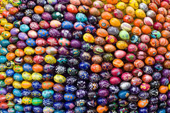 Colorful Easter Eggs. Background red and blue Royalty Free Stock Photography