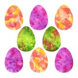 Colorful Easter Eggs. Yellow, pink, green watercolor spots royalty free illustration