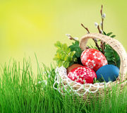 Colorful easter eggs. Colorful painted easter eggs in basket stock images