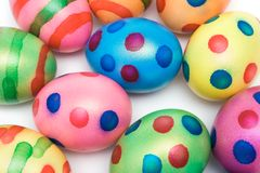 Colorful Easter Eggs. Top view on colored easter eggs isolated on a white background Stock Image