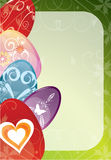 Colorful Easter eggs. On green background Royalty Free Stock Photos