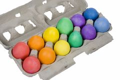 Colorful Easter Eggs. One Dozen Colorful Easter Eggs - Red Orange Yellow Green Blue Violet royalty free stock photography