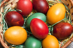 Colorful easter eggs. In basket Royalty Free Stock Images