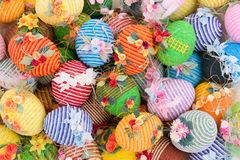 Colorful easter eggs. Beautiful handmade colorful easter eggs background stock photos