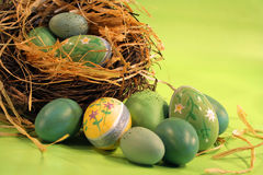 Colorful Easter eggs. In Easter setting royalty free stock images