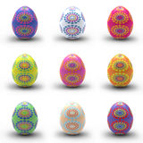 Colorful Easter eggs. Nine colorful Easter eggs on white background Royalty Free Stock Photography