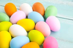 Colorful Easter eggs background. Holiday in spring season. Royalty Free Stock Photo