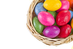 Colorful easter eggs in basket Royalty Free Stock Image