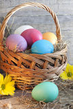 Colorful easter eggs in the basket Stock Photos