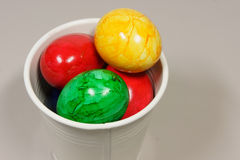 Colorful easter eggs. In a basket stock photos