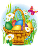 Colorful Easter Eggs in basket Royalty Free Stock Photos