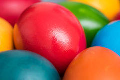 Colorful Easter Eggs In Basket Royalty Free Stock Images
